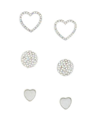 Heart Rhinestone Stud Earrings Set,SILVER,large
