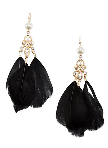 Pearl Studded Drop Earrings with Feathers,BLACK,large