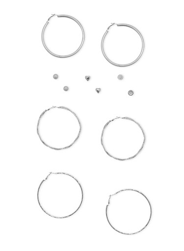 Set of 6 Multi Textured Hoop and Stud Earring Set,SILVER,large