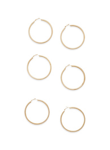 Set of 3 Assorted Tube Hoop Earrings,GOLD,large