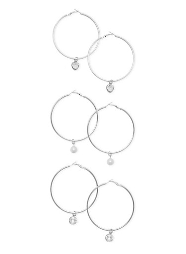 Set of 3 Hoop Earrings with Dangling Charms,SILVER,large