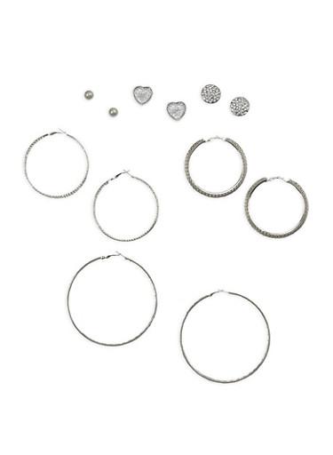 Rhinestone Stud and Large Hoop Earrings Set,SILVER,large