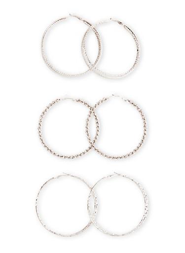 Set of 3 Textured Medium Hoop Earrings,SILVER,large