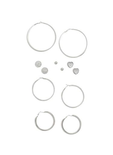 6 Multi Textured Hoop and Rhinestone Stud Earrings,SILVER,large