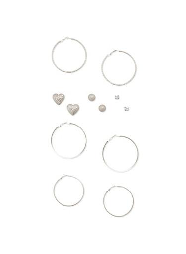6 Assorted Stud and Hoop Earrings Set,SILVER,large