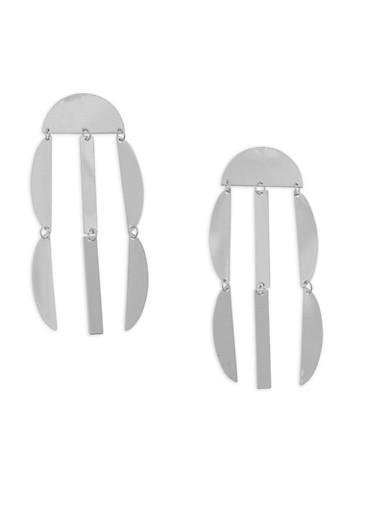 Metallic Geometric Drop Earrings,SILVER,large