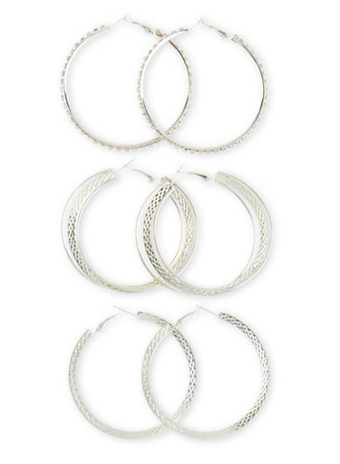 Set of 3 Assorted Textured and Layered Hoop Earrings,SILVER,large