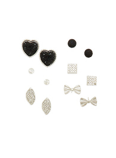 Assorted Stud Earrings with Rhinestone and Bow Details,SILVER,large