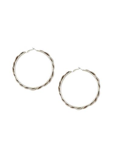 Braided Hoop Earrings,SILVER,large