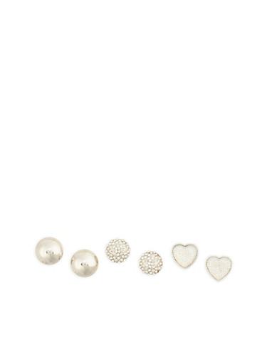 Set of 3 Oversized Rhinestone Studded Earrings,SILVER,large