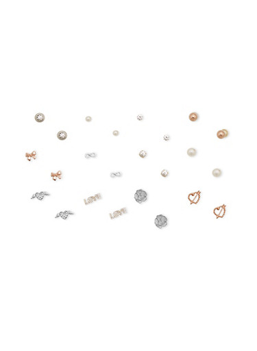 Set of 12 Assorted Stud Earrings,SILVER,large