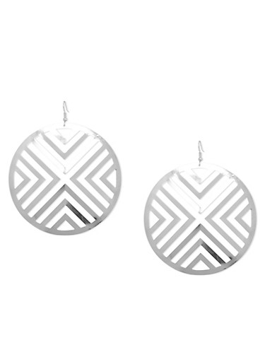 Large Cut Out Disc Drop Earrings,SILVER,large