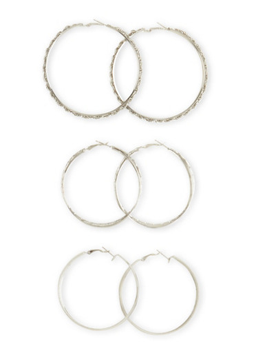 Set of 3 Assorted Hoop Textured and Glitter Earrings,SILVER,large