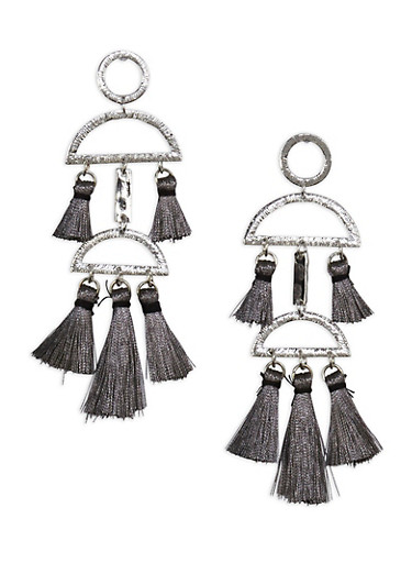 Geometric Tassel Earrings,SILVER,large