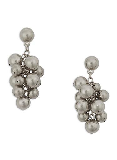 Metallic Grape Cluster Earrings,SILVER,large