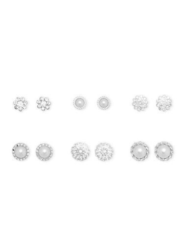 Set of 6 Assorted Circular Rhinestone Stud Earrings,SILVER,large