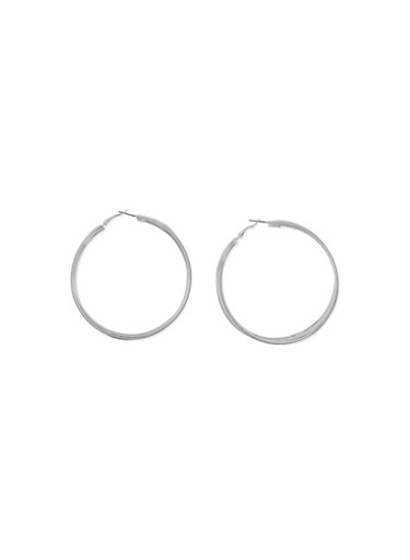 Pair of Sparkling Textured Hoop Earrings with Glitter,SILVER,large