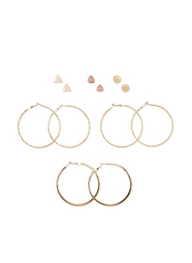 Set of 6 Textural Hoops and Geometric Stud Earrings,BLUSH,large