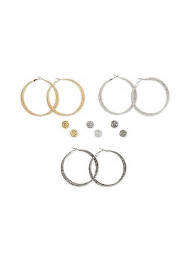 Set of 6 Glitter Hoops and Dome Stud Earrings,GOLD,large