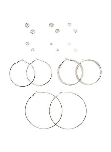 Set of 9 Hoops and Stud Earrings,SILVER,large