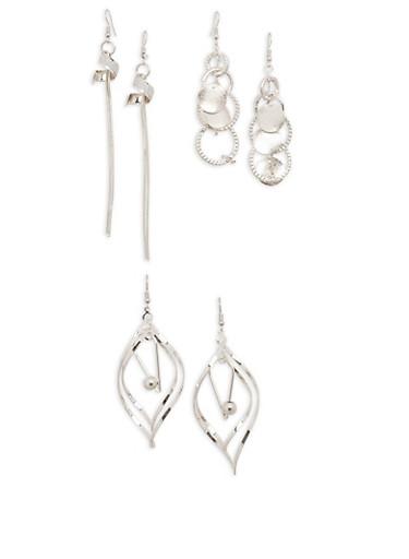 Trio of Metallic Glitter Drop Earrings,SILVER,large