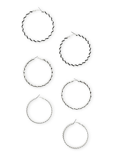 Set of 3 Varied Hoops with Texted Texture,SILVER /JET,large