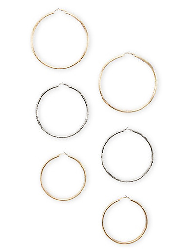 Set of 3 Extra Large Textured Hoop Earrings,SILVER/HEM/GOLD,large