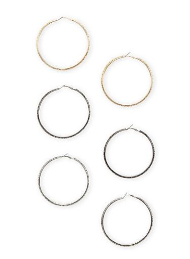 Set of 3 Large Textured Hoop Earrings,TRITONE (SLVR/GLD/HEMAT),large