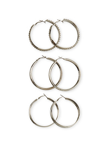 Set of 3 Hoop Earrings with Rhinestone and Glitter Accents,SILVER,large