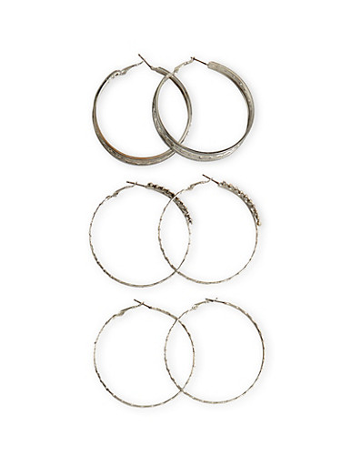 Set of 3 Assorted Textured Hoop Earrings With Rhinestones And Glitter,SILVER,large