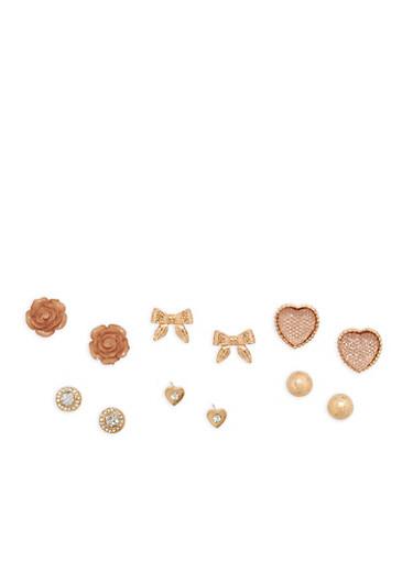 Set of 6 Rhinestone Metallic Stud Earrings,TAN,large