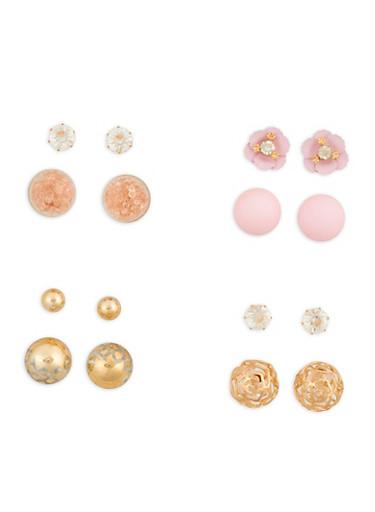Set of 4 Metallic Reversible Stud Earrings,GOLD,large