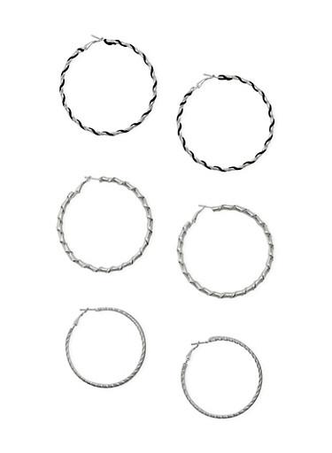 Trio of Wrap Hoop Earrings,SILVER,large
