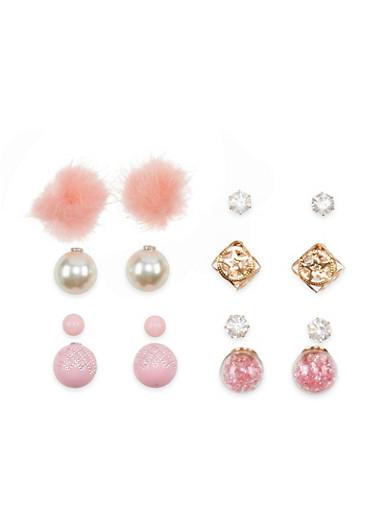 Set of 4 Reversible Stud Earrings,BLUSH,large