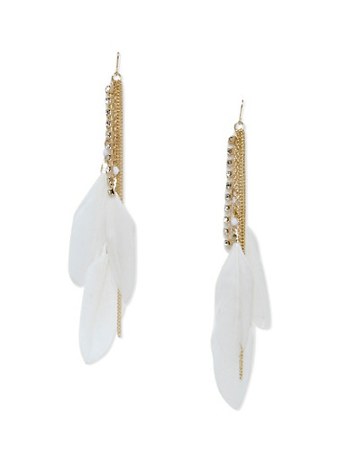 Feathered Drop Earrings with Rhinestones,IVORY,large