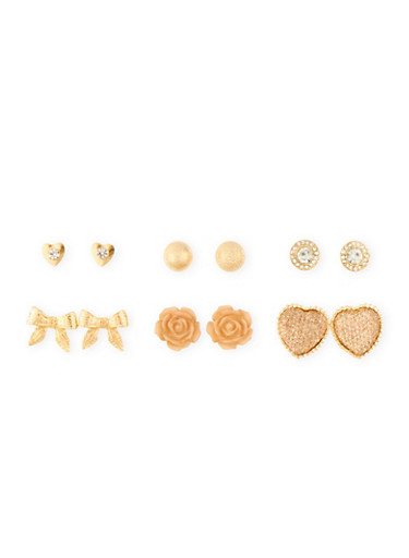 Set of 6 Assorted Rhinestone and Multi Textured Stud Earrings,TAN,large