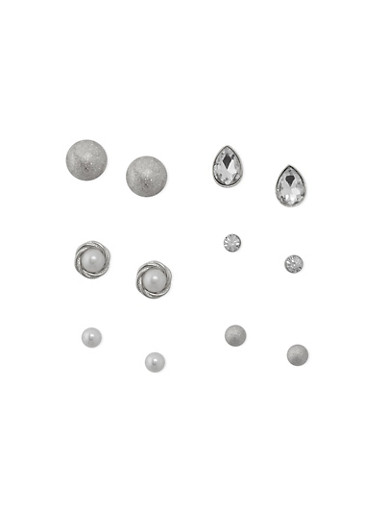 Set Of 6 Assorted Stud Earrings,SILVER,large
