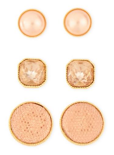 Set of 3 Pearl and Rhinestone Stud Earrings,PEACH,large