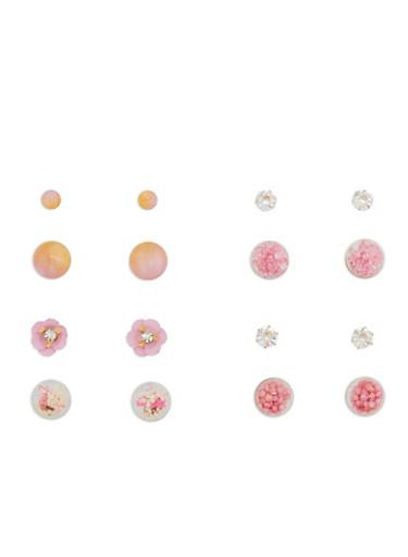 Set of 4 Reversible Stud Earrings,GOLD,large