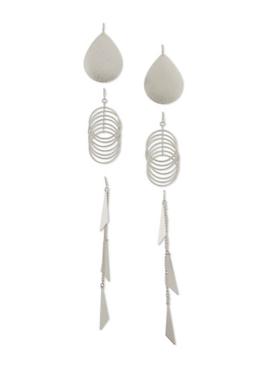 Trio of Drop Earrings with French Wire Back,SILVER,large