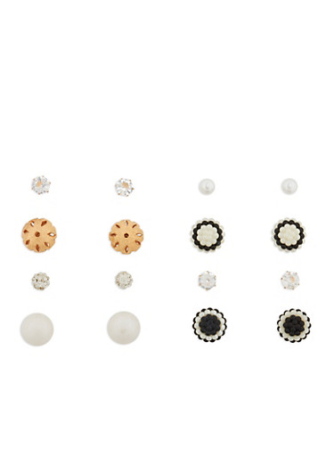 Set of 4 Rhinestone and Faux Pearl Reversible Stud Earrings,GOLD,large