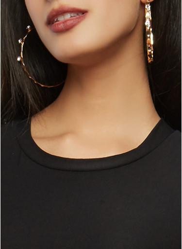 Set of Metallic Rhinestone Stud and Hoop Earrings,GOLD,large