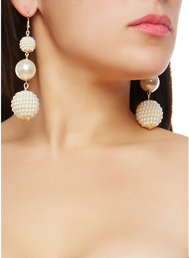 Tiered Faux Pearl Drop Earrings,IVORY,large