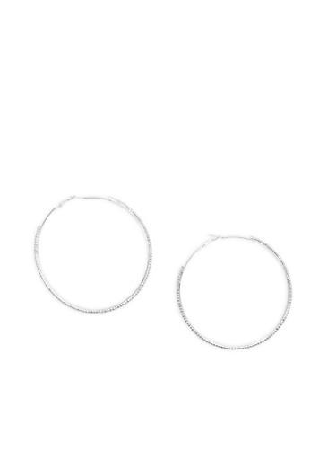 Extra Large Rhinestone Hoop Earrings,SILVER,large