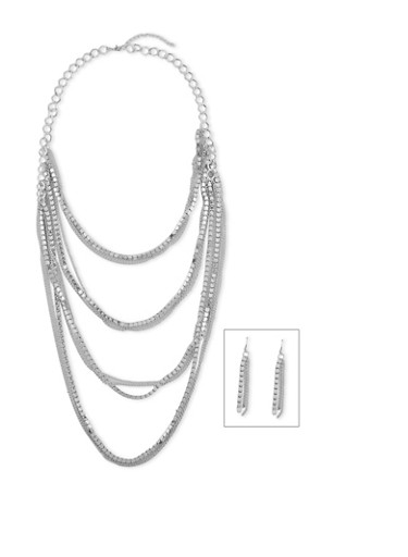 Multi Layered Rhinestone Necklace Set with Drop Earrings,SILVER,large