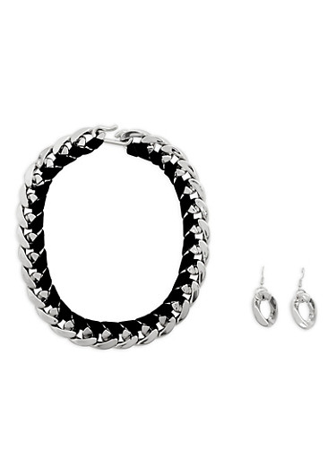 Chain Link and Velvet Necklace and Earrings,SILVER,large
