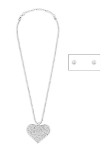 Heart Necklace with Stud Earrings,SILVER,large