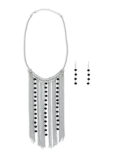 Beaded Chain Fringe Necklace and Earrings Set,SILVER,large