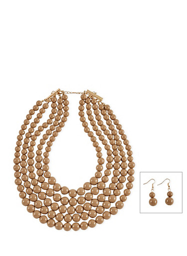 5 Row Beaded Necklace with Matching Drop Earrings,TAN,large