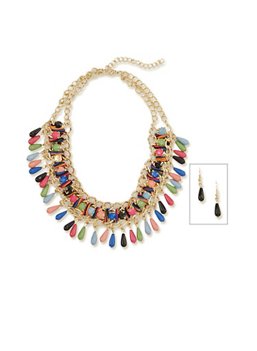 Woven Curb Chain Collar Necklace with Bead Fringe,MULTI COLOR,large